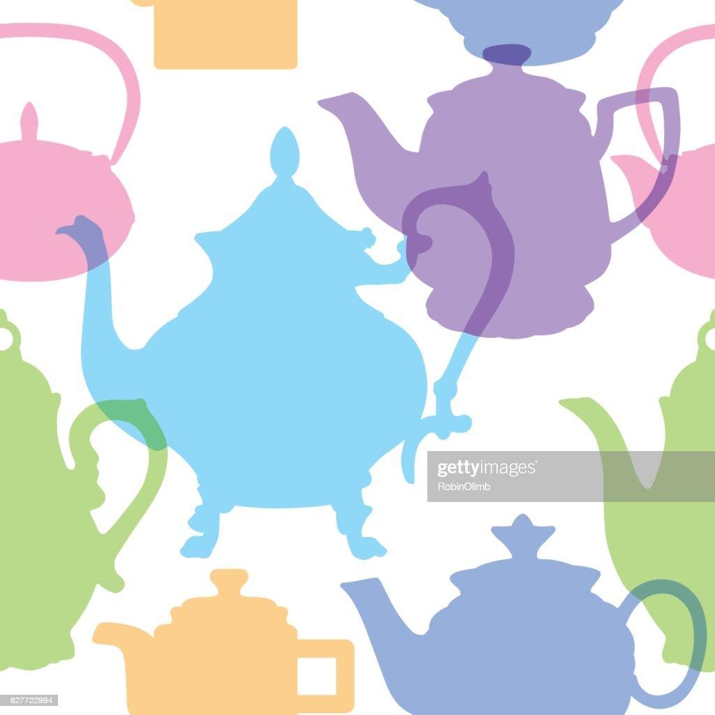 Pastel Teapots Seamless Pattern : stock illustration