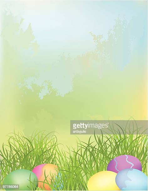 a pastel watercolor of easter eggs ready to be found  - easter egg hunt stock illustrations, clip art, cartoons, & icons