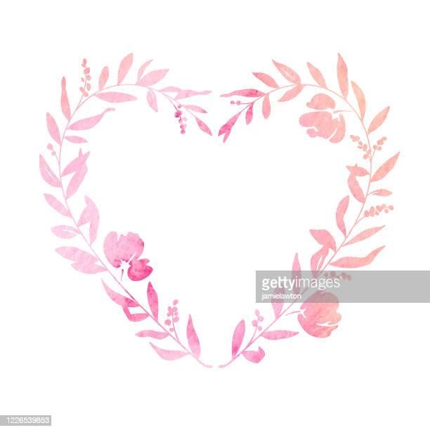 pastell aquarell herz geformt blumenkranz - liebe stock-grafiken, -clipart, -cartoons und -symbole