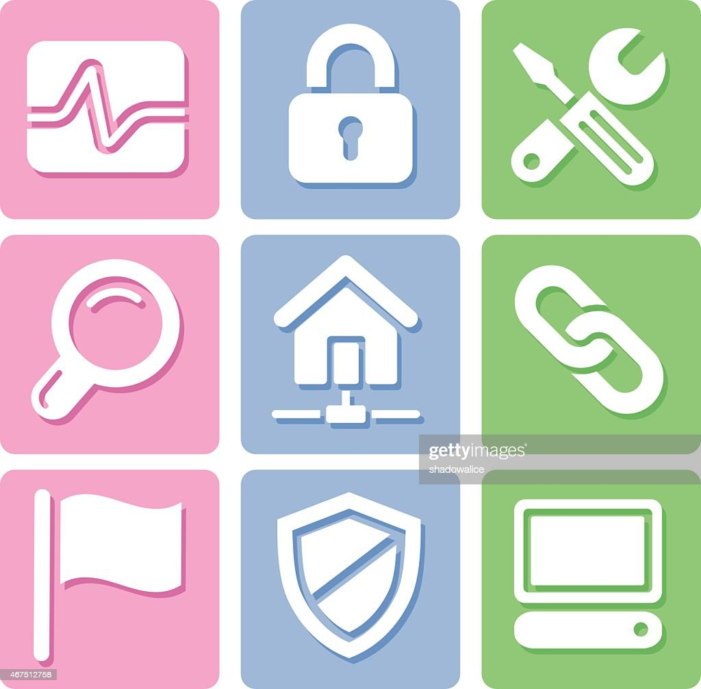 Pastel Website icons set great for any use, Vector EPS10.