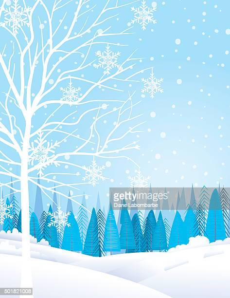 Pastello inverno paesaggio con alberi e neve
