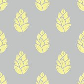 Pastel yellow succulents on gray background. Seamless pattern vector illustration.
