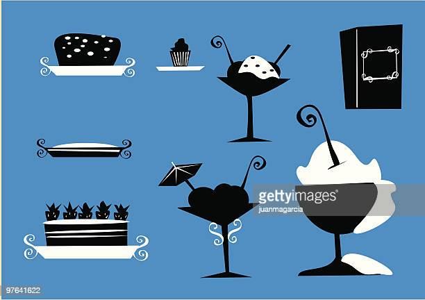 pastries, cakes, pies, sundaes, silhouettes of food - brownie stock illustrations, clip art, cartoons, & icons