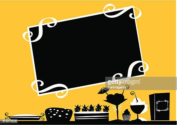 pastries, cakes, pies, sundaes, silhouettes of food. - brownie stock illustrations, clip art, cartoons, & icons