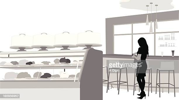 pastries vector silhouette - display cabinet stock illustrations, clip art, cartoons, & icons