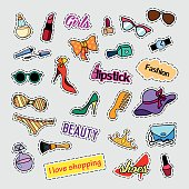 Patch badges. Fashion set. Stickers, pins, patches and handwritten notes