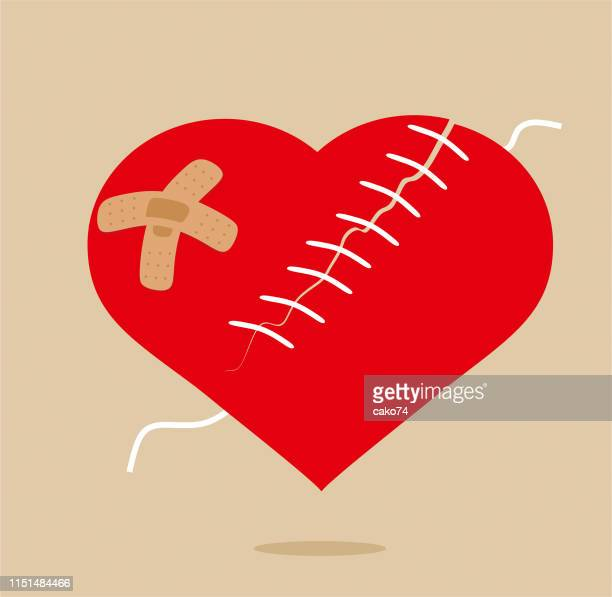 patched heart cartoon style - beating heart stock illustrations