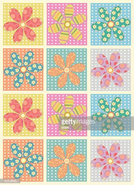 ilustraciones, imágenes clip art, dibujos animados e iconos de stock de parches de flores - patchwork