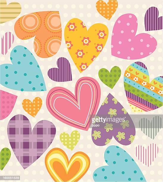 ilustraciones, imágenes clip art, dibujos animados e iconos de stock de parches de amor! - patchwork