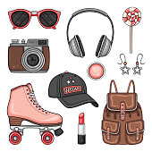 Patches set with roller skates, cap, photo camera and headphones