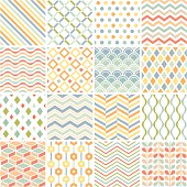 Patchwork of 16 geometric patterns on white