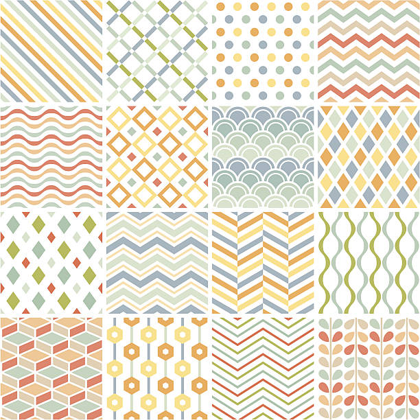 patchwork of 16 geometric patterns on white - pastel stock illustrations