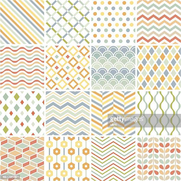 patchwork of 16 geometric patterns on white - zigzag stock illustrations, clip art, cartoons, & icons
