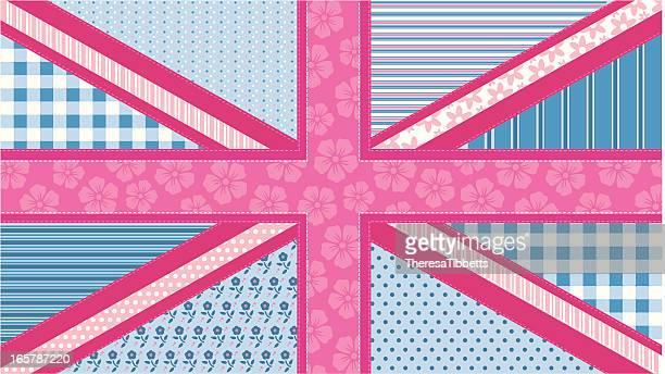 ilustraciones, imágenes clip art, dibujos animados e iconos de stock de patchwork union jack - patchwork