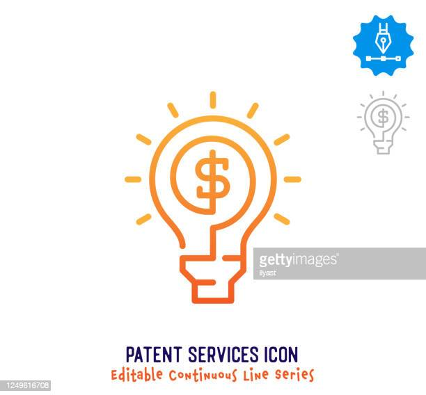 patent services continuous line editable icon - light bulb stock illustrations