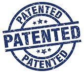 patented blue round grunge stamp