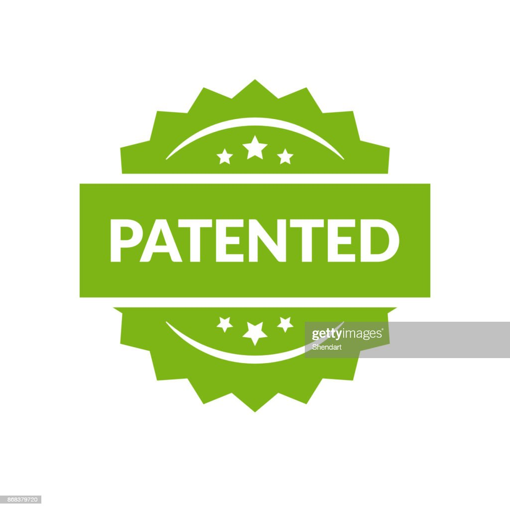 Patented stamp vector label, flat cartoon patent badge isolated on white background.