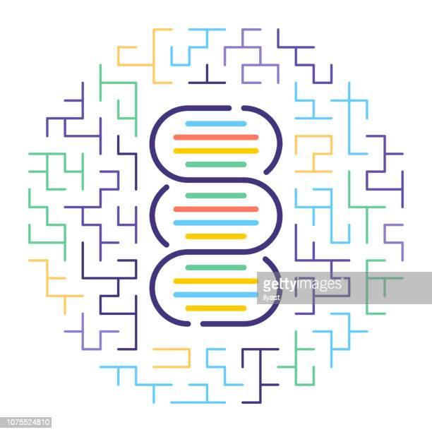 illustrazioni stock, clip art, cartoni animati e icone di tendenza di illustrazione dell'icona della linea di test di paternità del dna - problemi