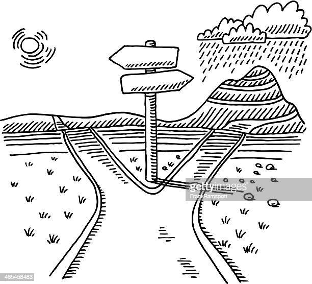 Path Direction Sign Choice Drawing
