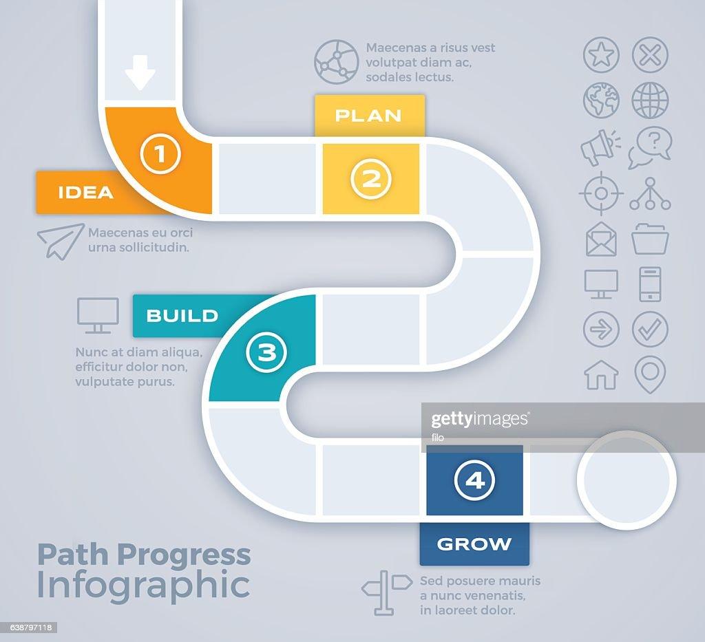 Path Progress Process Infographic : stock illustration