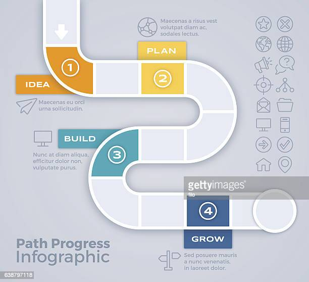 path progress process infographic - thoroughfare stock illustrations, clip art, cartoons, & icons