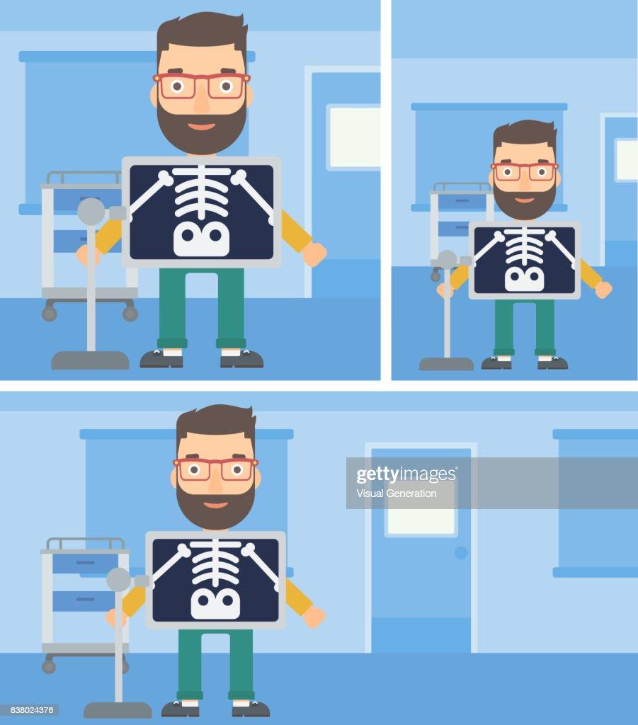 Patient during x ray procedure