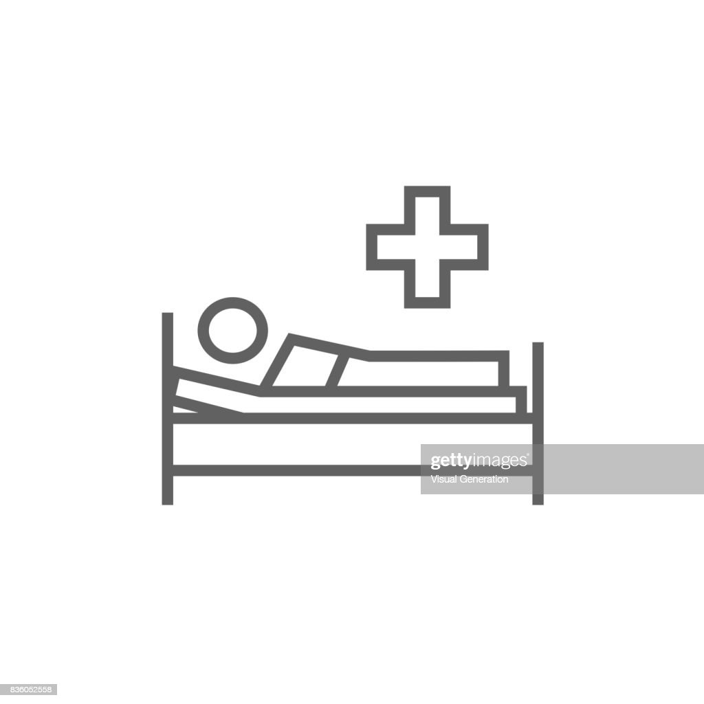 Patient lying on bed line icon