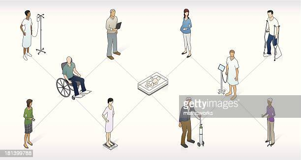 patient network illustration - mathisworks healthcare stock illustrations