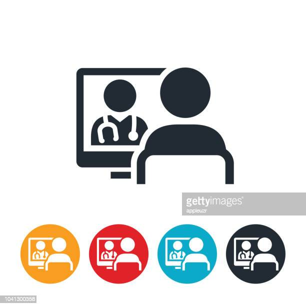 patient receiving virtual healthcare icon - video conference stock illustrations