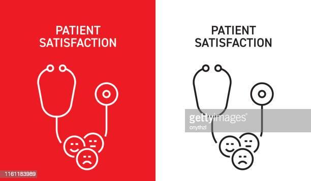 illustrazioni stock, clip art, cartoni animati e icone di tendenza di concetto di soddisfazione del paziente - soddisfazione