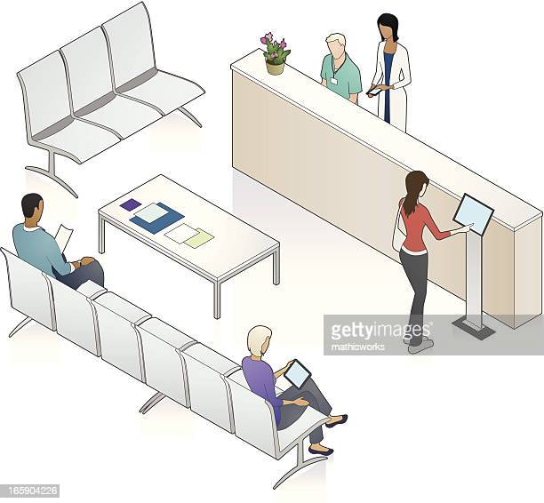 patient waiting area illustration - interactivity stock illustrations, clip art, cartoons, & icons