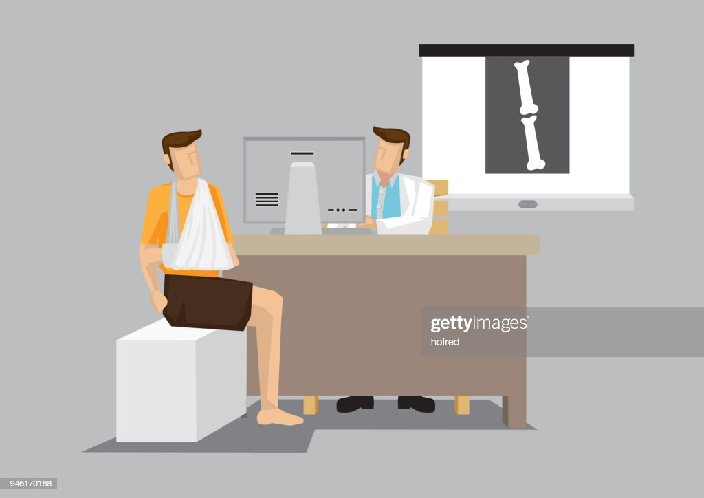 Patient with Arm in Sling Consultation with Orthopedist Cartoon Vector Illustration