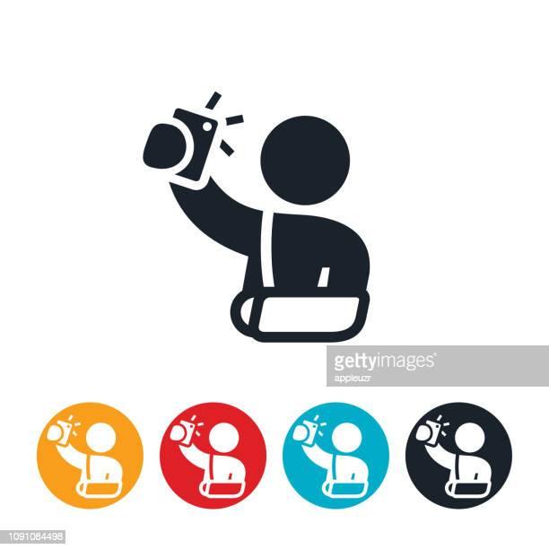 patient with broken arm using telemedicine icon - broken arm stock illustrations, clip art, cartoons, & icons