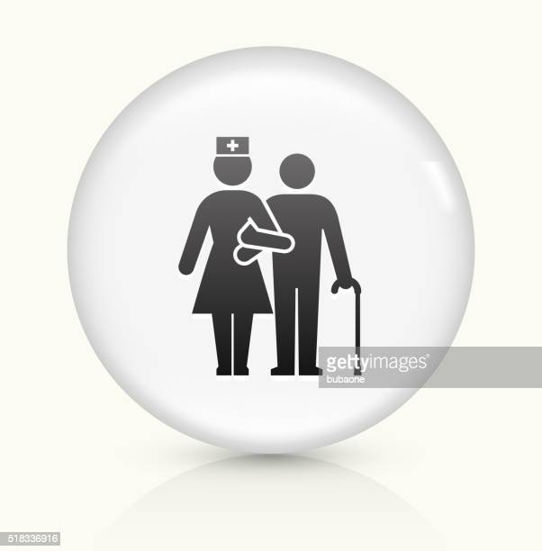 Patient with Female Nurse icon on white round vector button