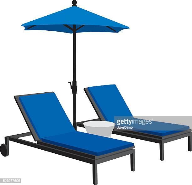 patio furniture silhouettes - parasol stock illustrations