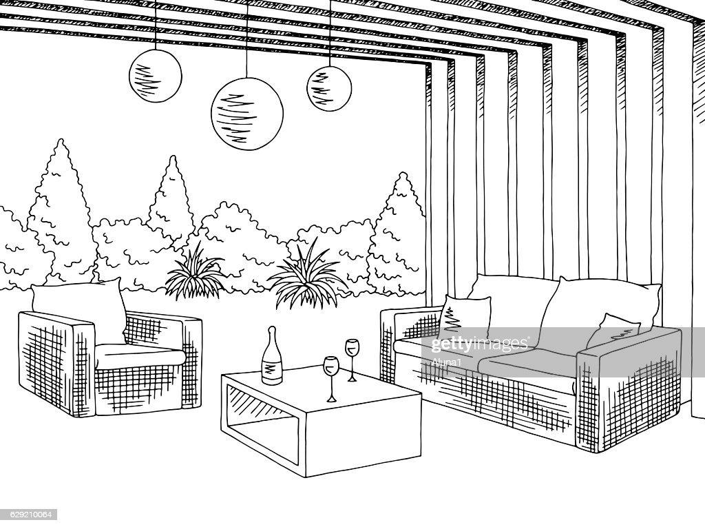 Patio garden graphic black white sketch illustration vector