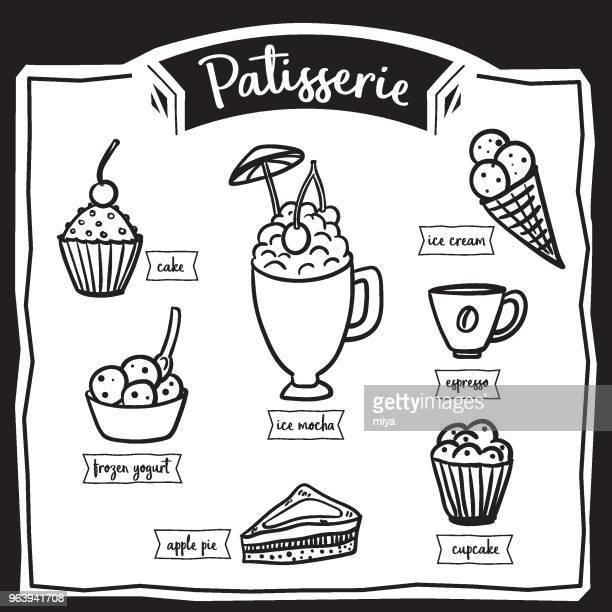 patisserie set icons, hand drawning - illustration - frozen yogurt stock illustrations, clip art, cartoons, & icons