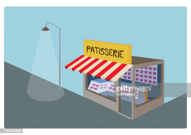 patisserie shop - store sign stock illustrations
