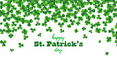 Patrick day background with vector four-leaf clover pattern background. St Patrick day card with lucky four leaf green background. Irish beer festival. Vector green grass clover pattern background