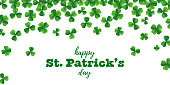 Patrick day background with vector four-leaf clover pattern background. St Patrick day card with lucky four leaf clover green background. Irish beer festival. Vector green grass clover pattern background