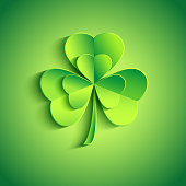 Patricks day card green with stylized leaf clover