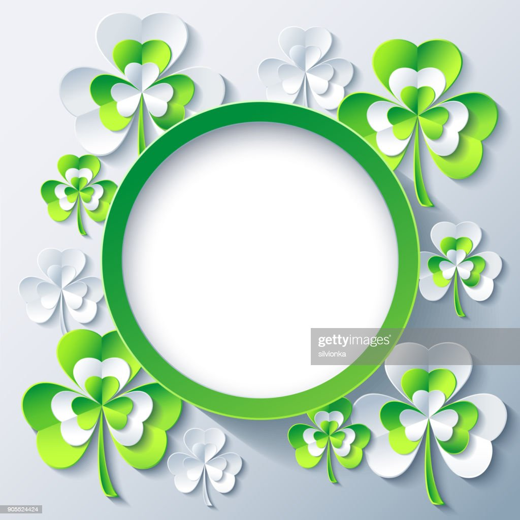 Patricks day round frame with 3d leaf clover