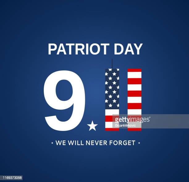 patriot day 9/11 usa card, september 11. we will never forget. vector - number 9 stock illustrations