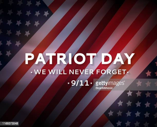 ilustraciones, imágenes clip art, dibujos animados e iconos de stock de cartel del día del patriota ee.uu. 9/11, 11 de septiembre. nunca lo olvidaremos. vector - usa