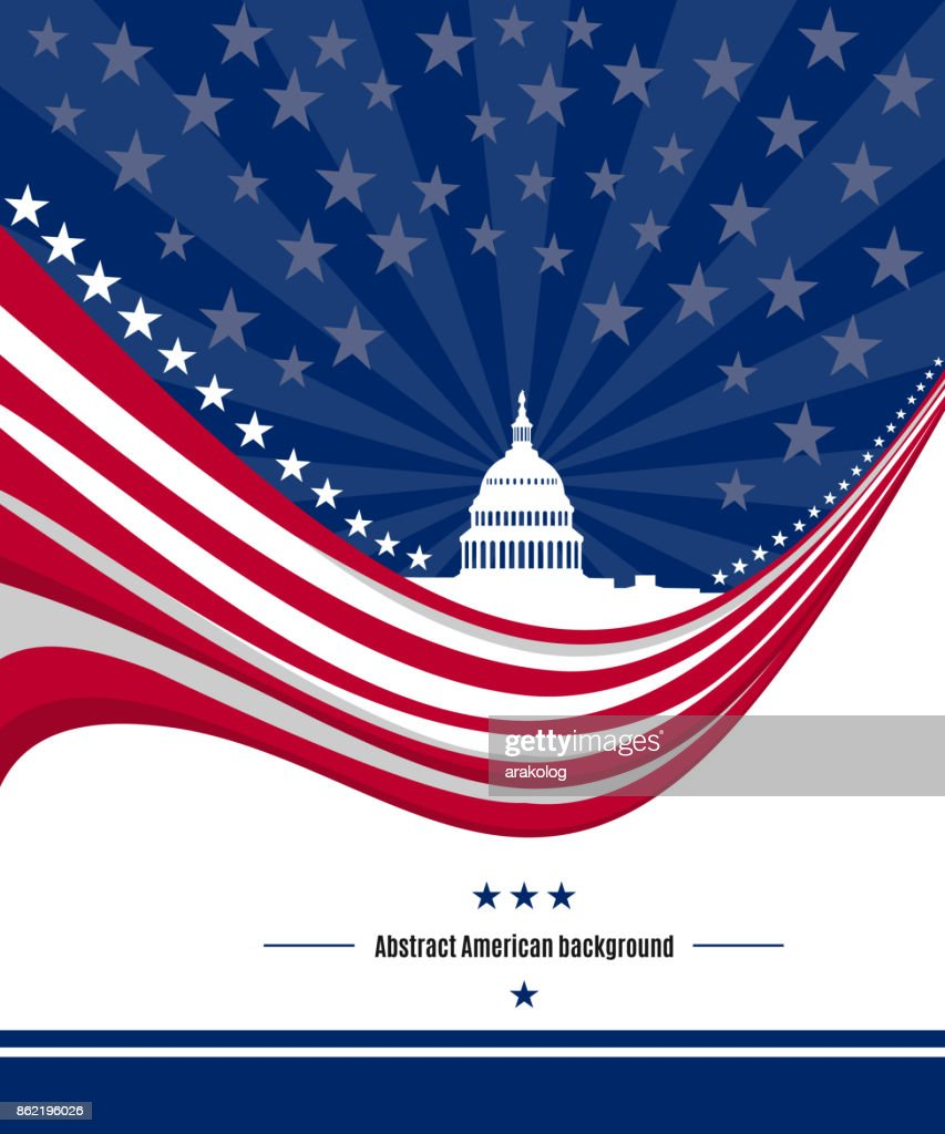 Patriotic American background with abstract USA flag and White house