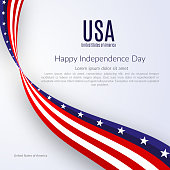 Patriotic American background with text Happy Independence Day USA Background with the ribbon of the American flag on Independence Day Patriotic American theme with the flag on Independence Day Vector