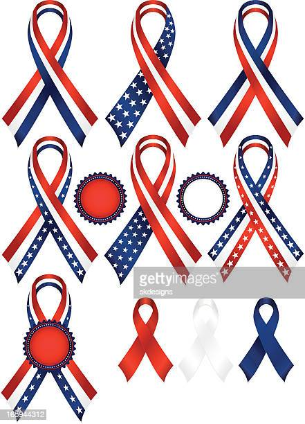 Patriotic Awareness or Award Ribbons Set in Red, White, Blue