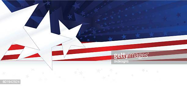 patriotic background or banner: red, white, blue with stars, stripes - red white blue background stock illustrations