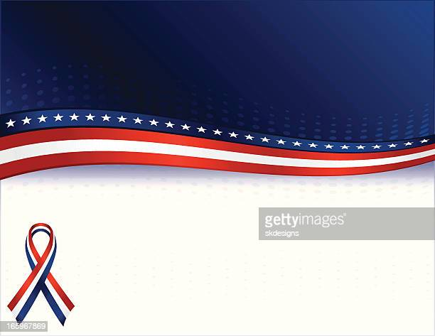 Patriotic Background with Optional Awareness Ribbon: Red, White, Blue