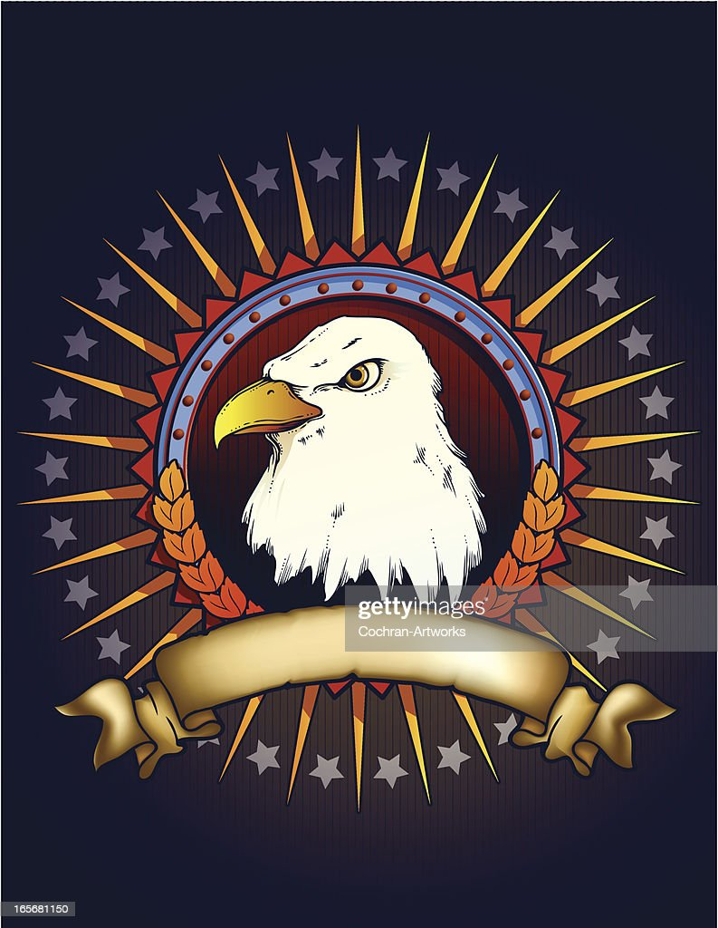 Patriotic Badge with Eagle Head : stock illustration